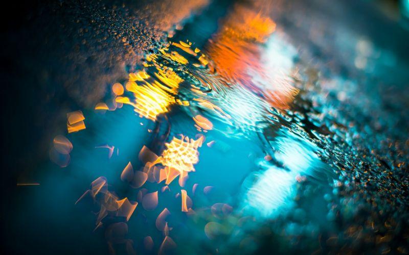 rain macro night light drops wet asphalt puddles wallpaper