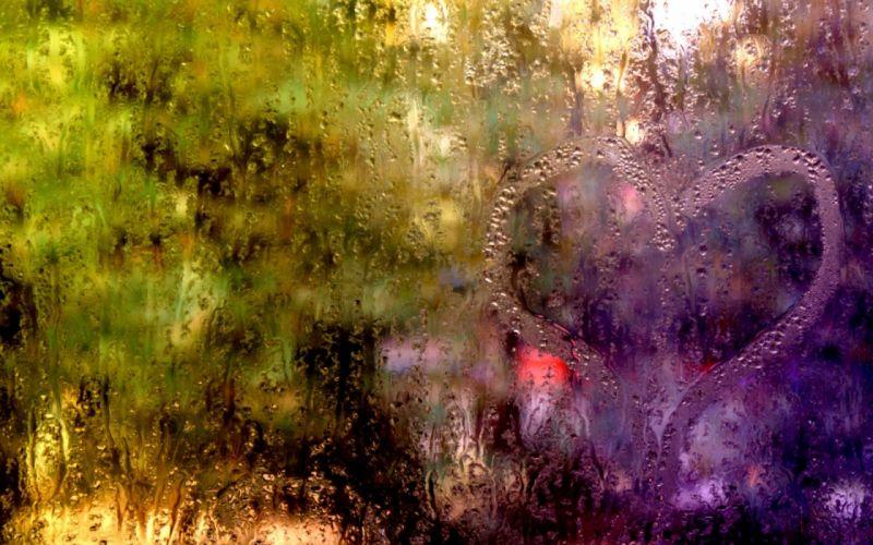 Rain Glass Window Lights Streams Drops Water wallpaper