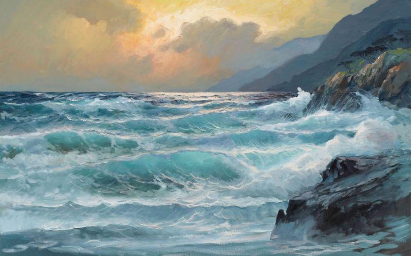 sea waves painting art storm rock wallpaper