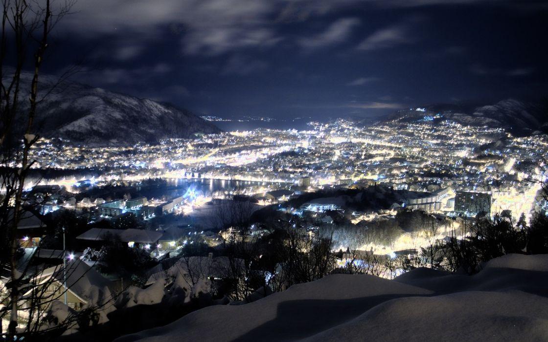 night snow height city winter wallpaper