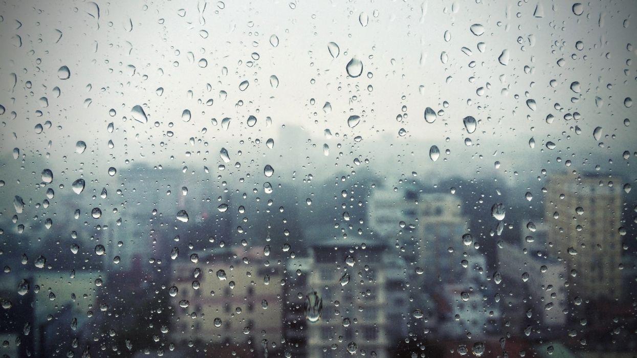 rain window glass buildings drops wallpaper