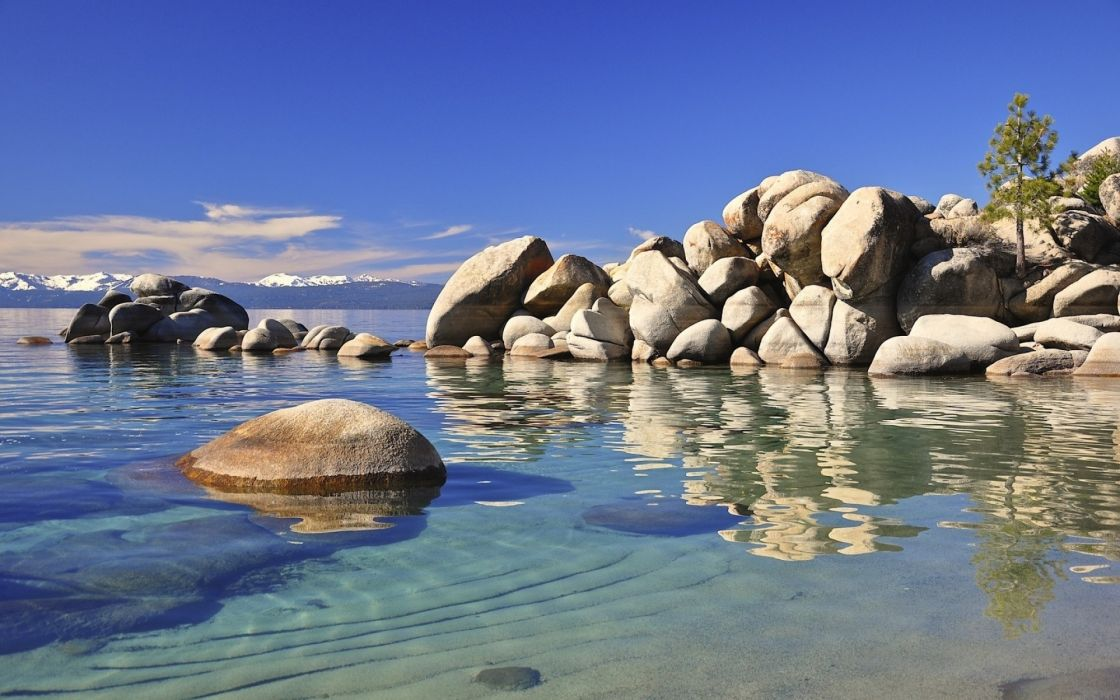 stones bottom water transparent protected sand wallpaper