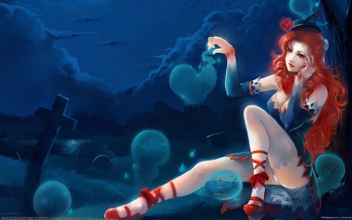mujer anime manga pelo rojo wallpaper