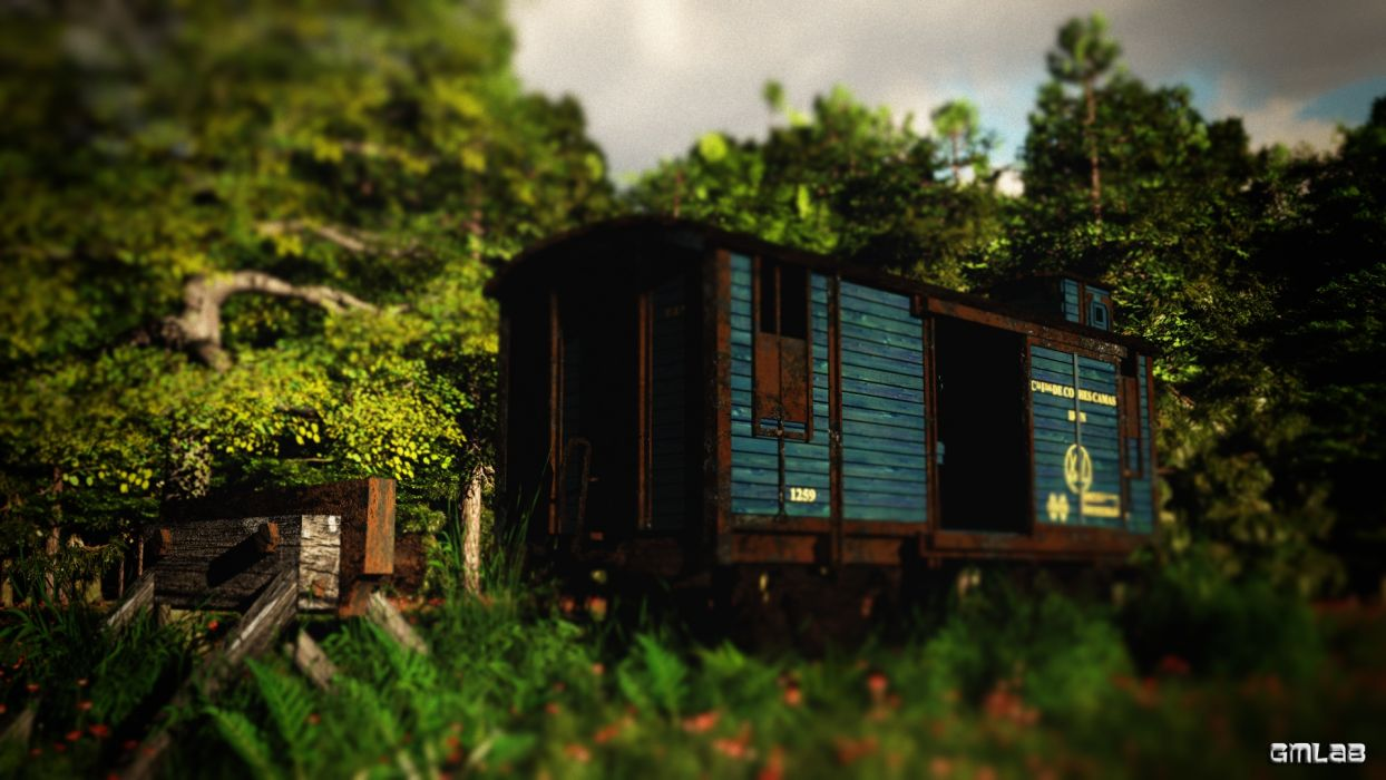 Abandoned railway carriage wallpaper