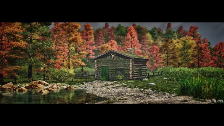 An abandoned log cabin in the autumn forest wallpaper