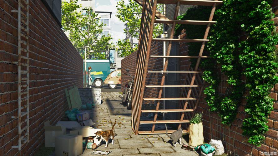 Back alley wallpaper