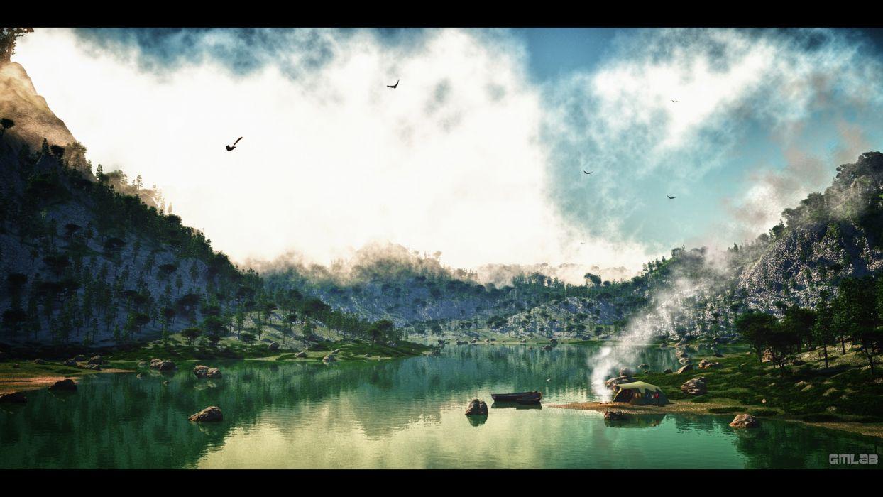 Camping at the lake wallpaper