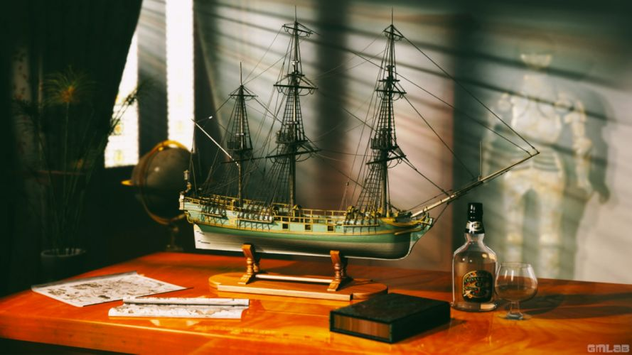 Classic Ship scale model wallpaper