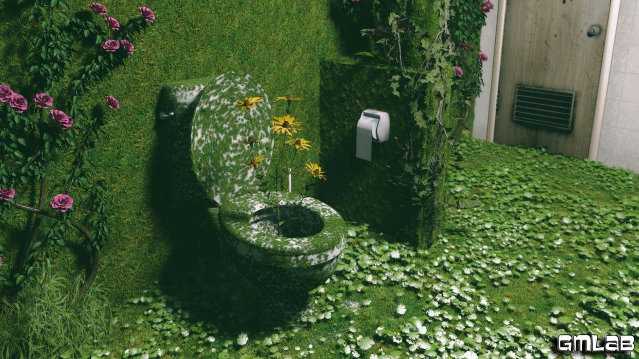 Green Toilet wallpaper