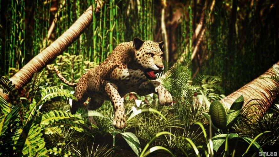 Leopard jumps and attacks wallpaper