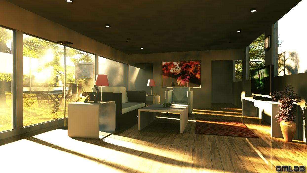 Living room design wallpaper