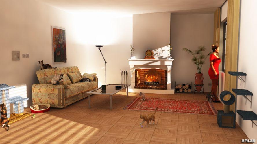 Livingroom with cats wallpaper