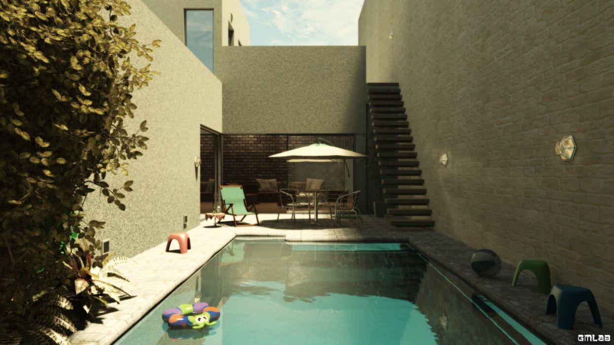 Private swimming pool wallpaper