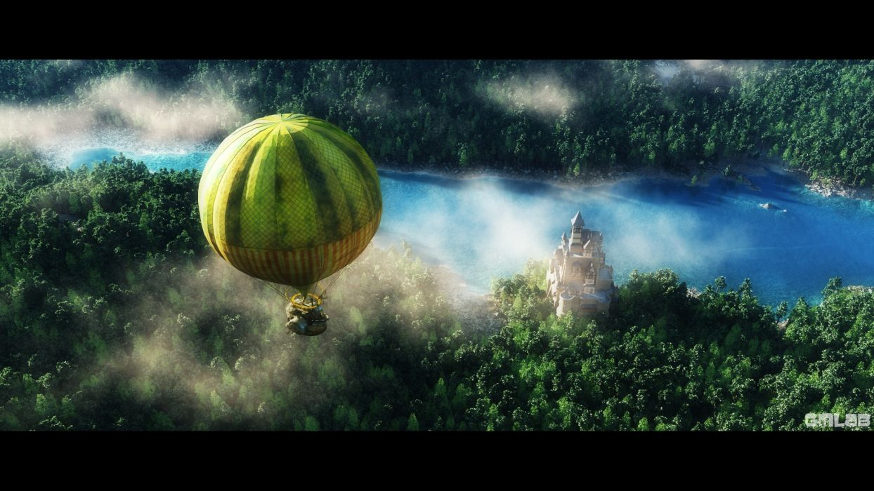 Overflight with the balloon wallpaper