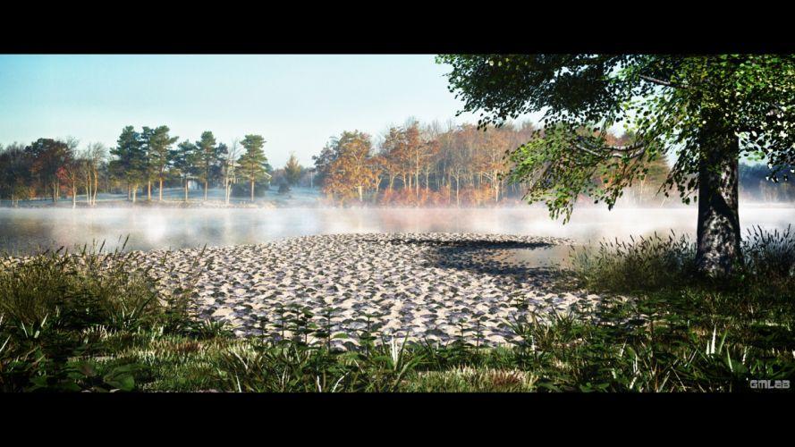 Pebbles Lake in the mist wallpaper