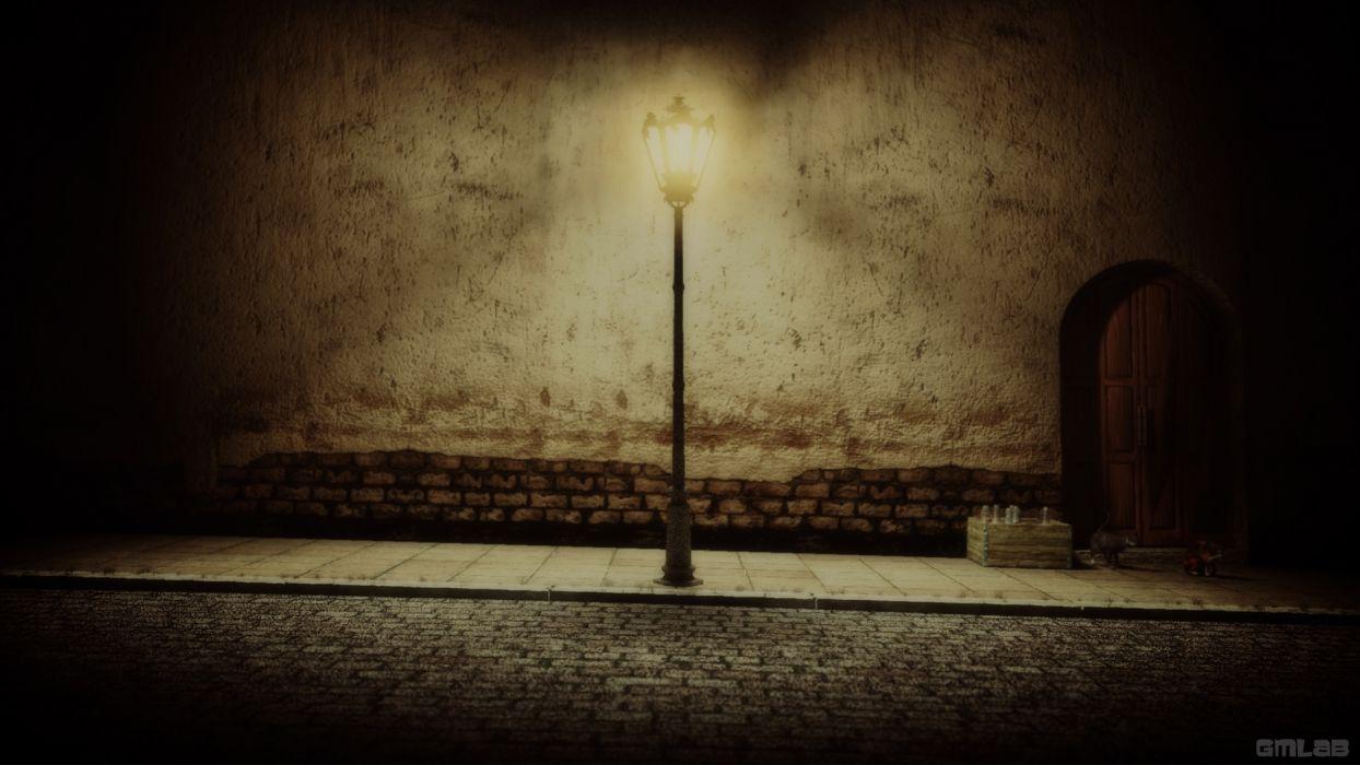 Streetlight in the dark wallpaper