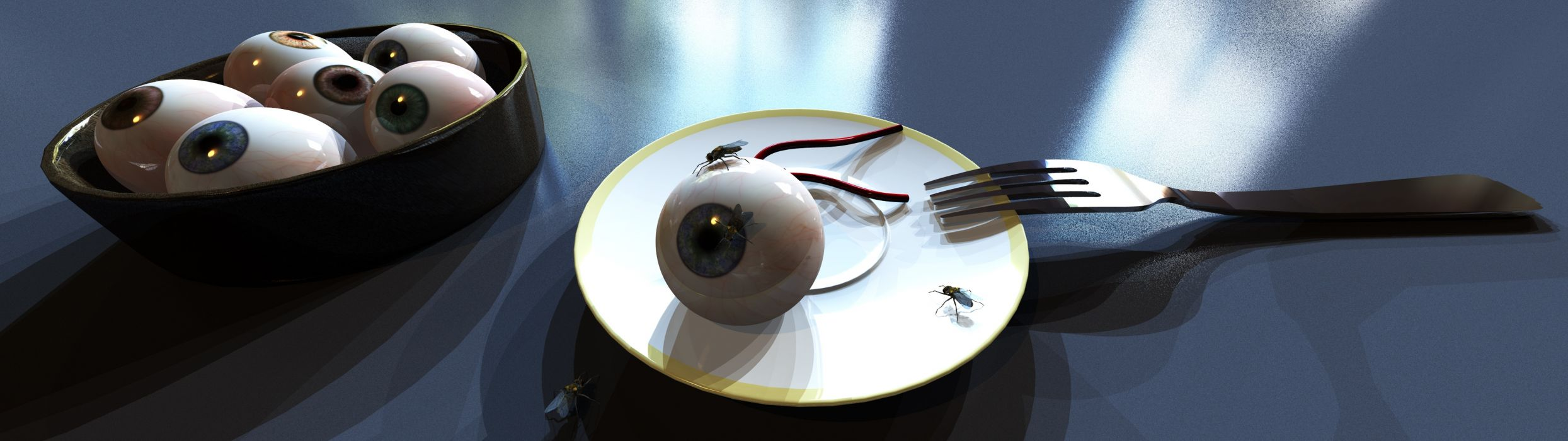 Fresh eye on dish (3840x1080) wallpaper