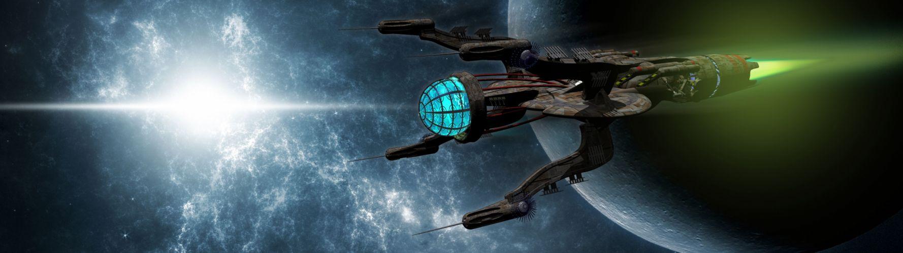 Space Ship (3840x1080) wallpaper