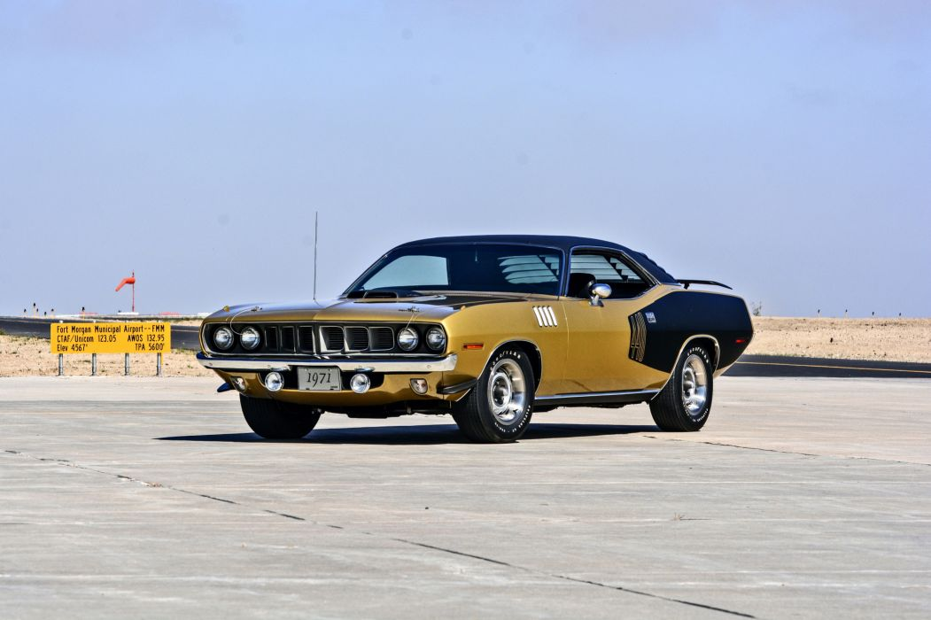 1971 Plymouth Cuda Hemi 440 Muscle Old Classic Original USA -01 wallpaper