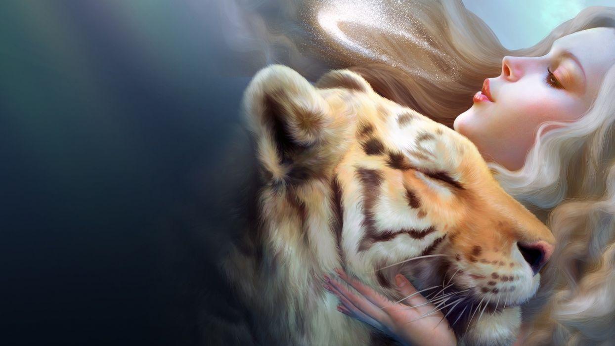 Tiger And Girl wallpaper wallpaper