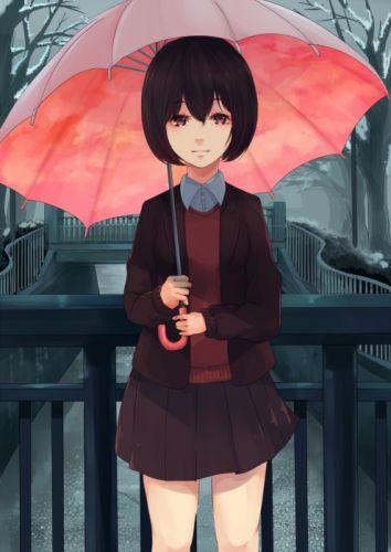 Original Anime Art akira umbrella red school girl uniform wallpaper