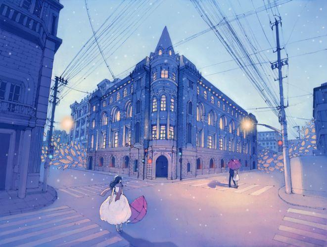 anime city street girl couple beauty sky dress wallpaper
