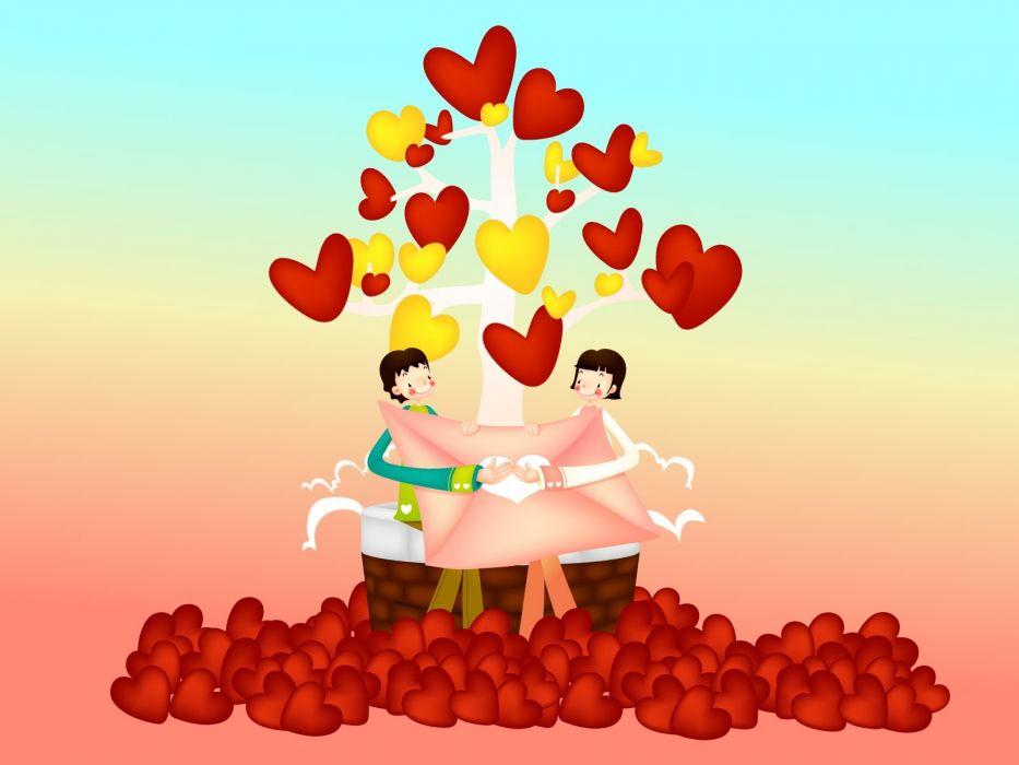 amor san valentin corazones parejas wallpaper