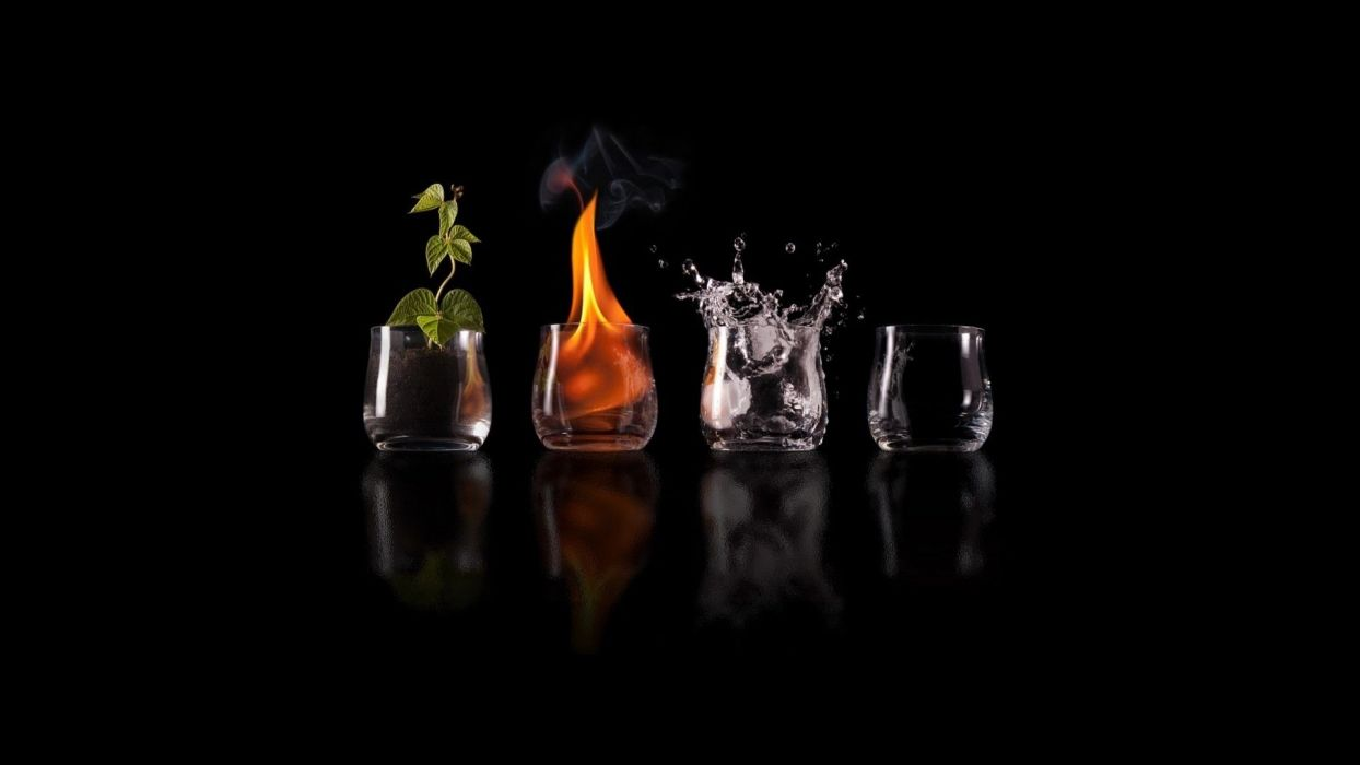 Arts elements-nature-earth-fire-water-air wallpaper
