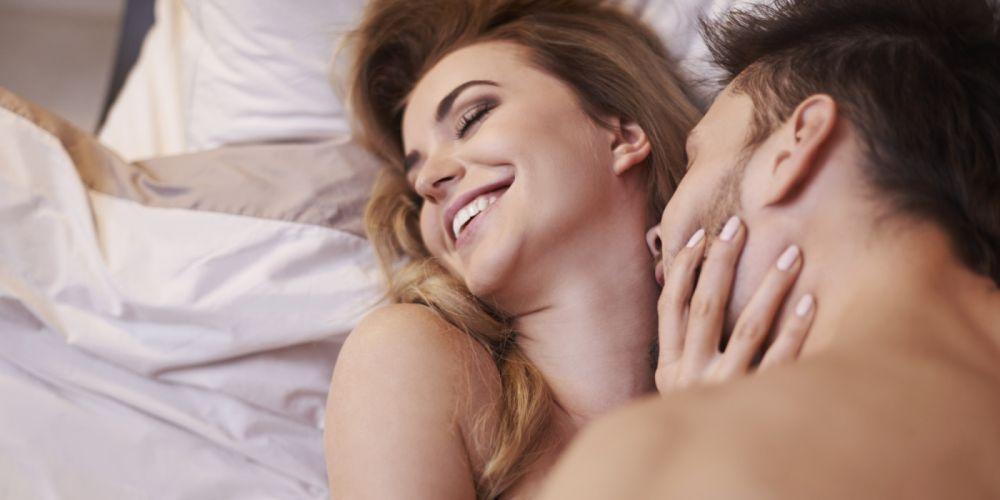 Bliss girl-woman-man-couple-laughing-bed-hug-caress-kiss wallpaper