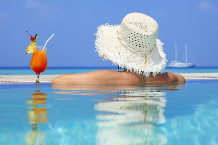 vacaciones piscina copa helado wallpaper