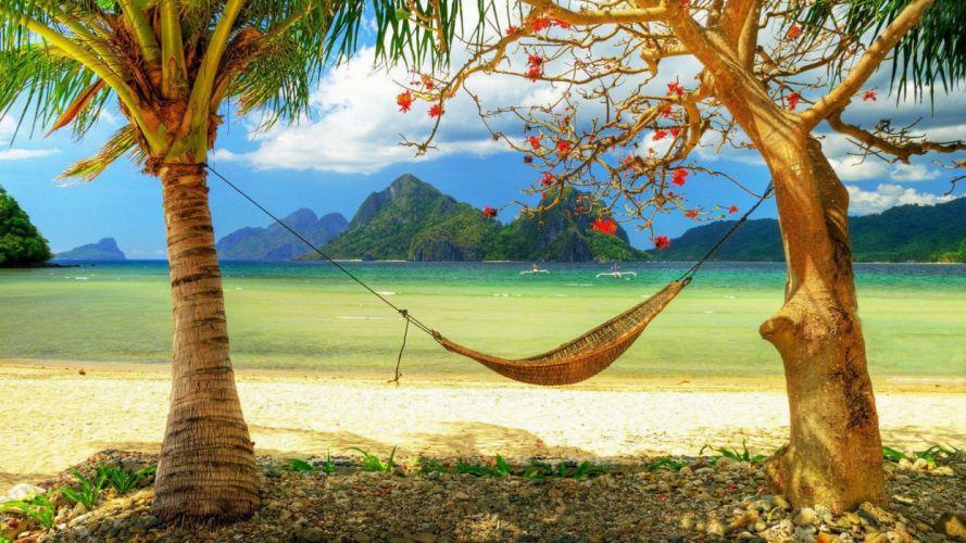 hamaca arboles vacaciones playas wallpaper