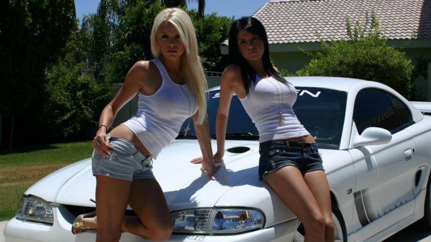 Women & Machines girls-women-sexy-sensual-model-shorts-car-white wallpaper