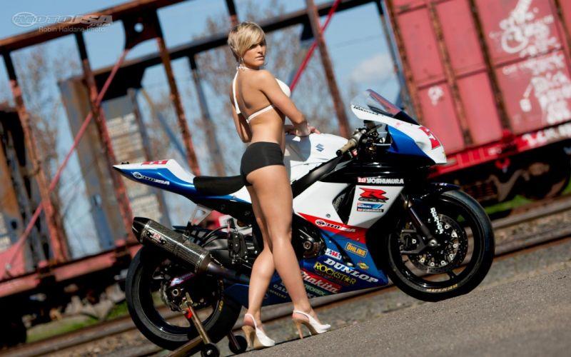 Women & Machines girls-women-sexy-sensual-blonde-motorcycle-suzuki-short-legs wallpaper