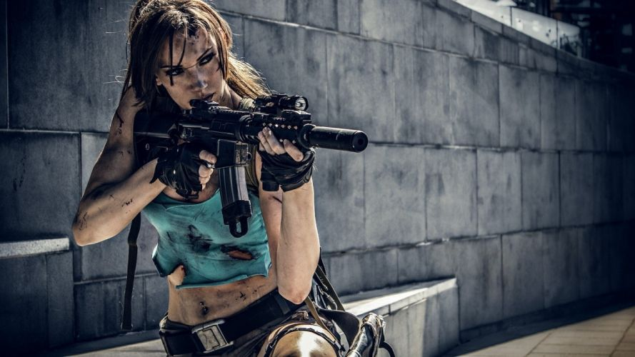 Women & Guns girls-women-cosplay-Tomb Raider- wallpaper