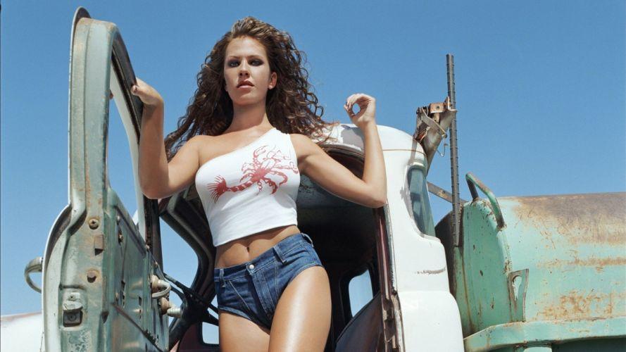 Women & Machines girls-women-sexy-sensual-model-truck-short-jeans-curly hair wallpaper