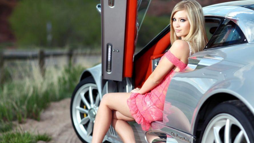 Women & Machines girls-women-sexy-sensual-blonde-model-car-pink wallpaper