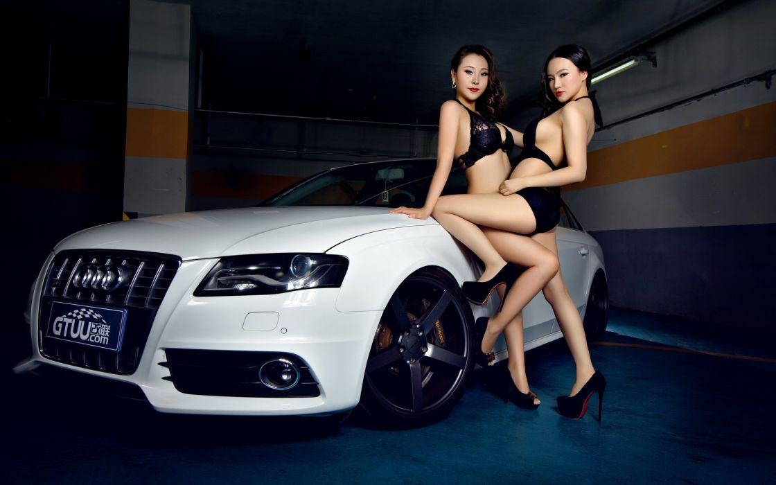 Women & Machines girls-women-sexy-sensual-model-car-audi wallpaper