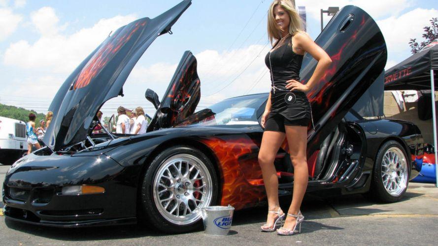 Women & Machines girls-women-sexy-sensual-model-car-black-fire wallpaper