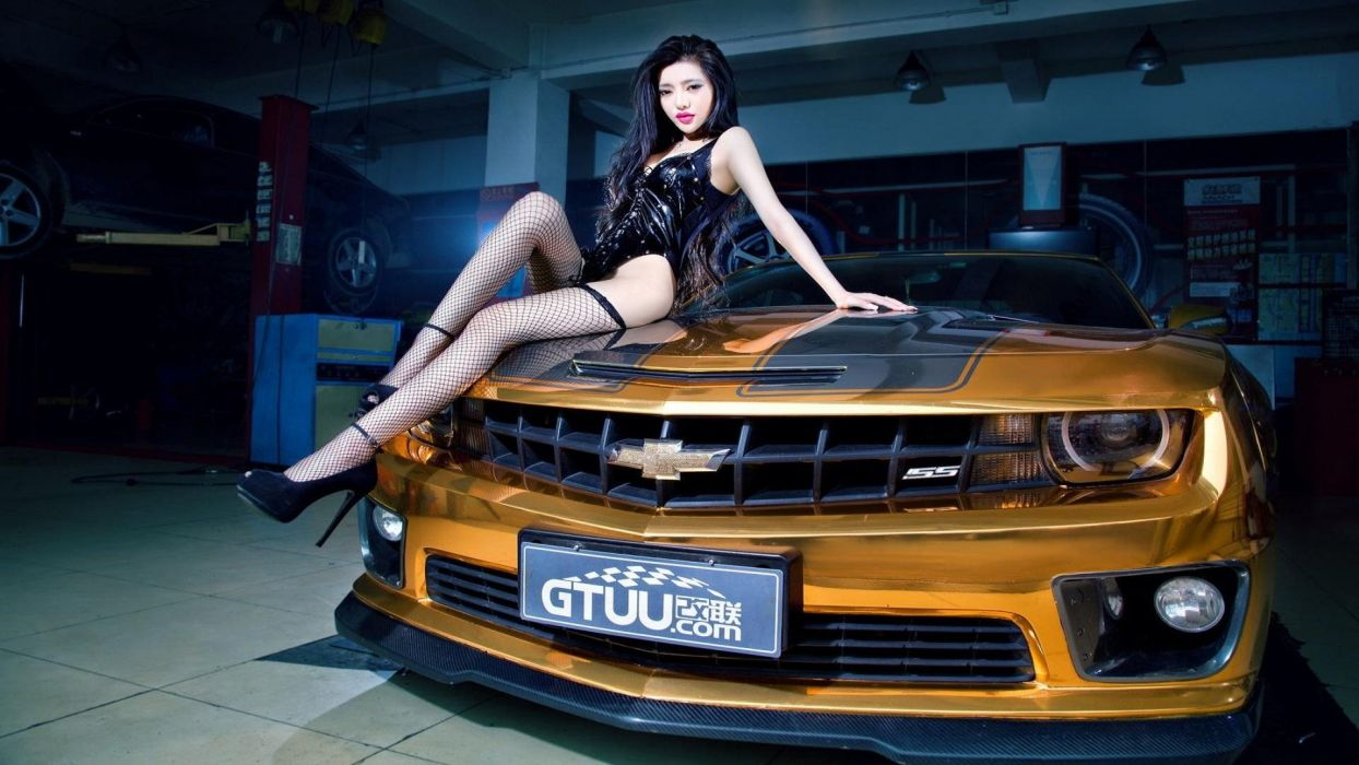 Women & Machines girls-women-sexy-sensual-model-car-chevrolet wallpaper