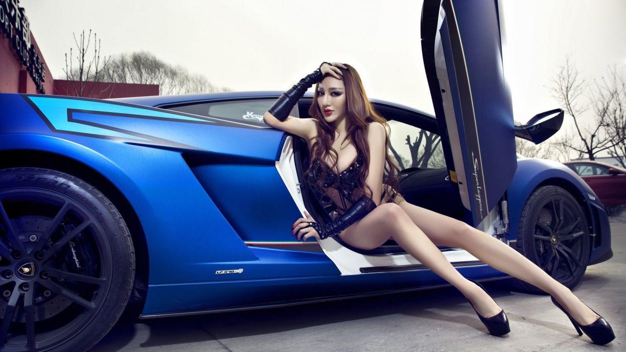 Women & Machines girls-women-sexy-sensual-model-car-legs-blue wallpaper