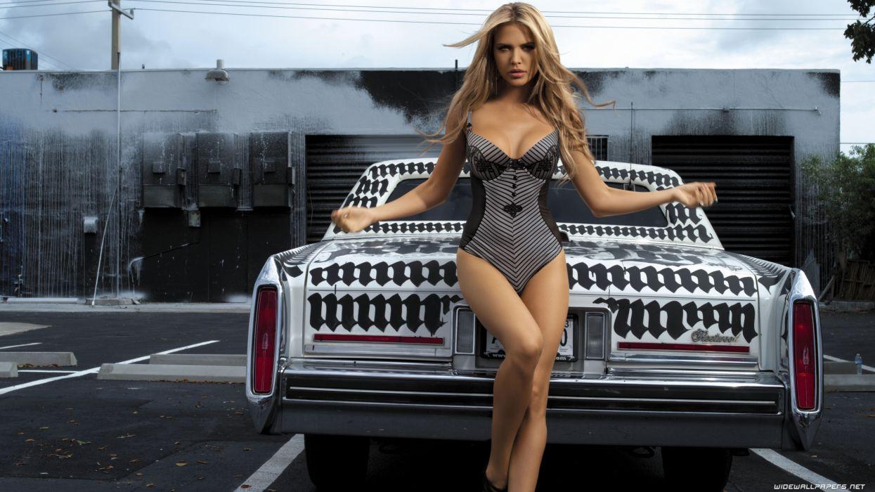 Women & Machines girls-women-sexy-sensual-blonde-model-car-swimsuit wallpaper