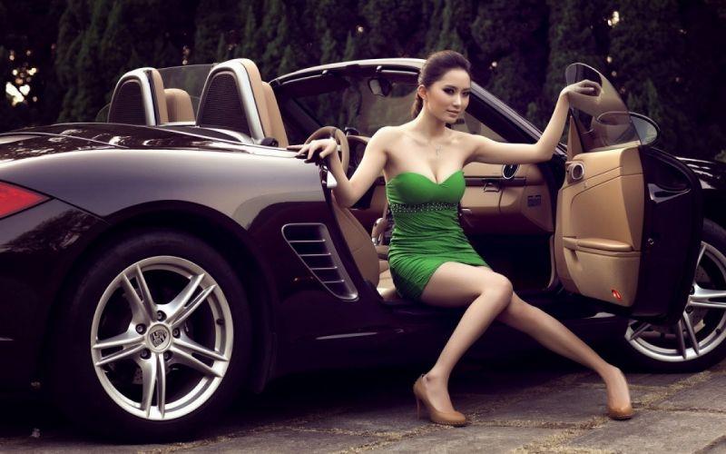 Women & Machines girls-women-sexy-sensual-model-car-legs-green wallpaper
