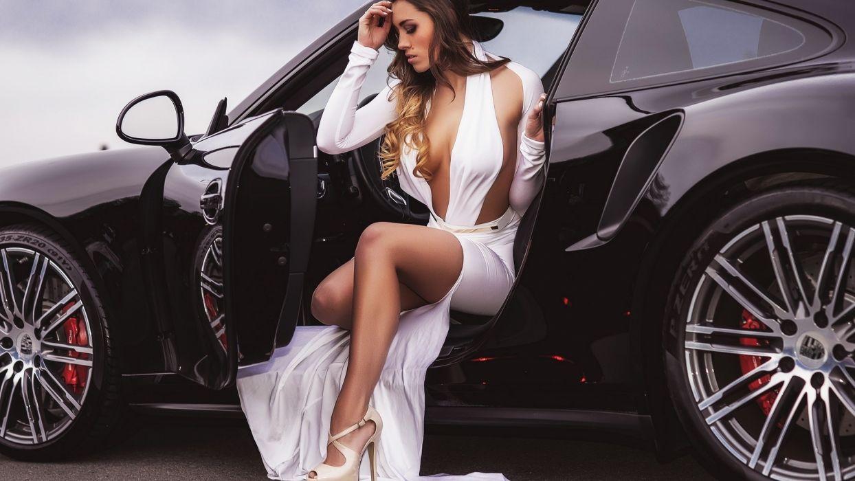 Women & Machines girls-women-sexy-sensual-model-car-porsche-white dress-curly hair wallpaper