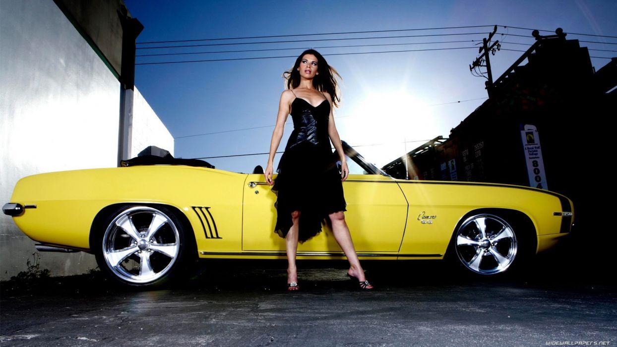 Women & Machines girls-women-sexy-sensual-model-car-yellow wallpaper