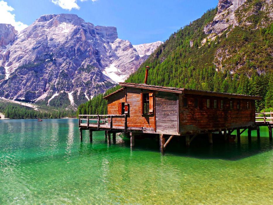 casa madera lago montay wallpaper