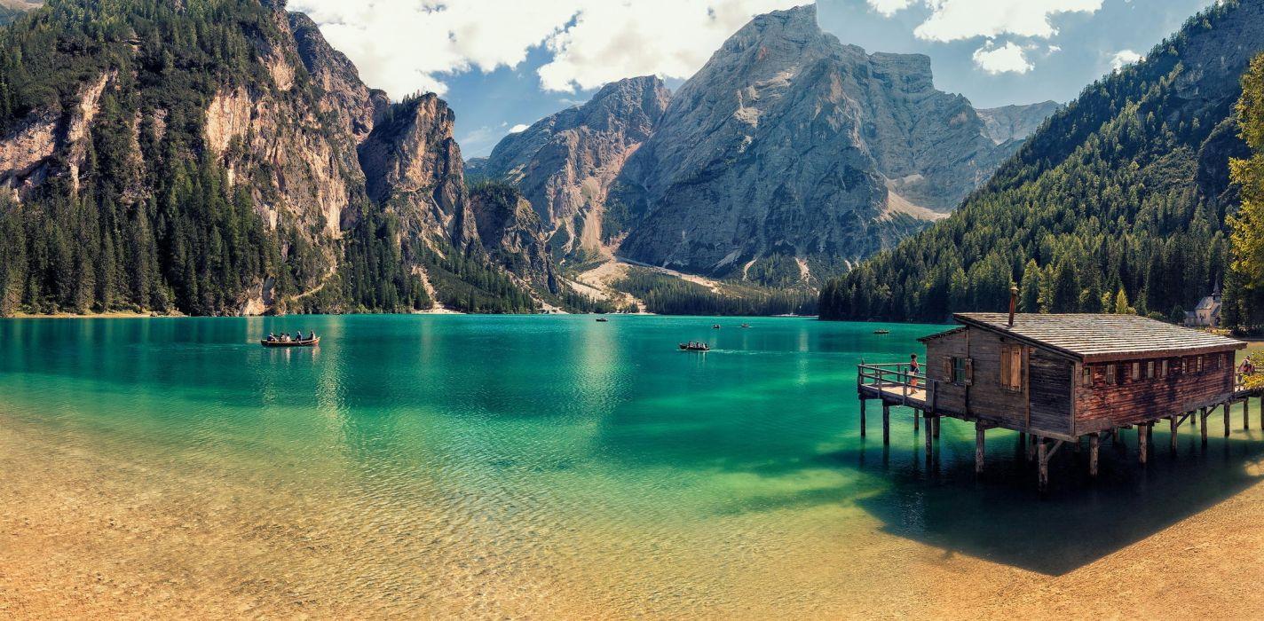 lago paisaje cabaña montañas wallpaper