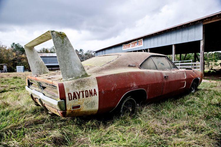 1969 Dodger Daytona Rusty Abandoned Forgotten Junkyeard Muscle Old Classic USA -32 wallpaper