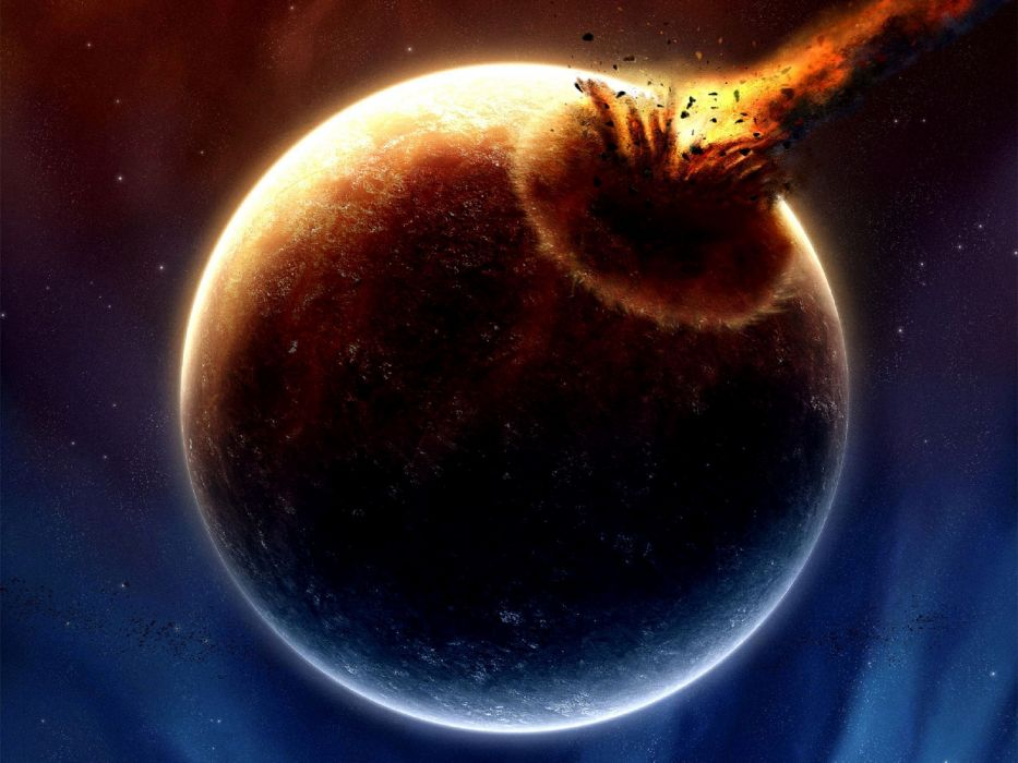 meteorito choque planeta espacionaturaleza wallpaper