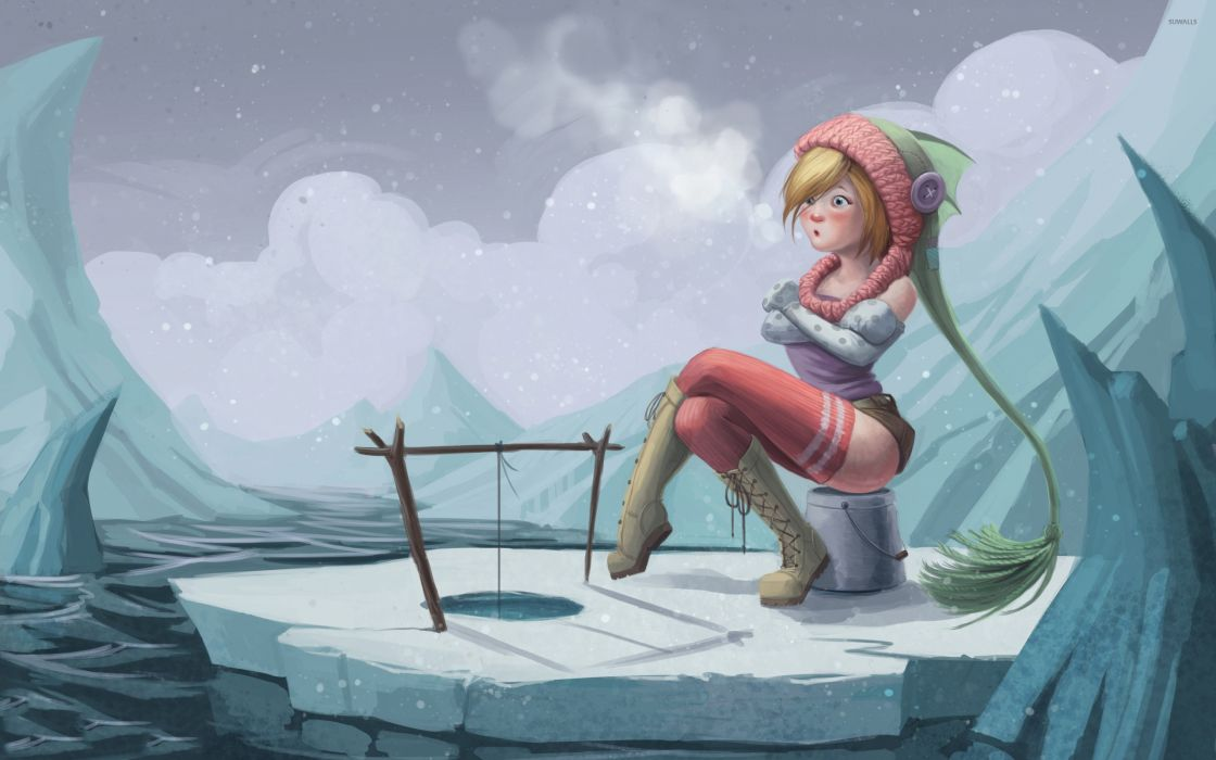 Arts girl-ice-fishing wallpaper