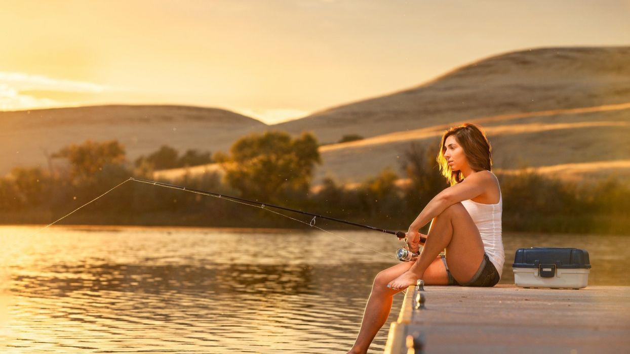 Photography girls-women-lake-rod-fishing-fisherwoman wallpaper